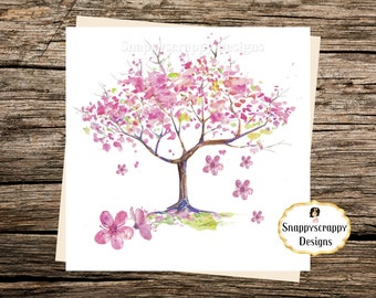 Pink Cherry Blossom Blank Card Notelet