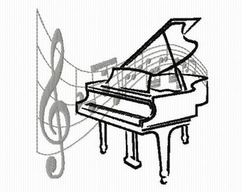 Embroidery design of a piano with music in the background format 4 x 4 and 5 x 7 notes
