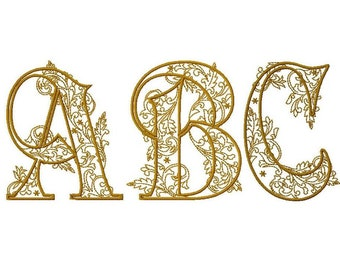 "Embroidery of a full alphabet ""arabesque"" machine embroidery format 4 x 4"