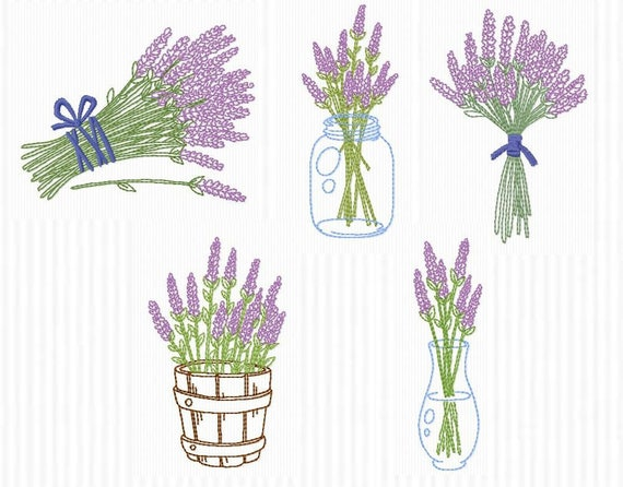 5 Embroidery Designs Redwork Themed Lavender For Etsy