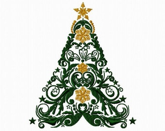 Embroidery of a Christmas tree for Christmas machine embroidery 5 x 7