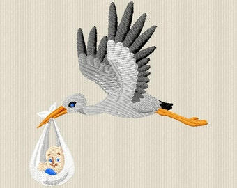 Embroidery design of a stork with baby for machine embroidery format 4 x 4