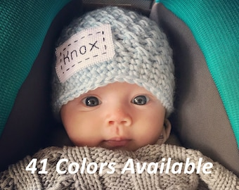 82a1b94b Personalized Baby Hat, Baby Coming Home Outfit, Baby Boy Hospital Outfit,  Newborn Photo Outfit, Personalized Newborn Hat, Newborn Name Hat