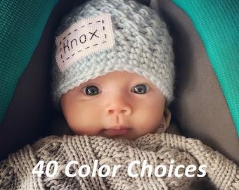 4e45ca840ef Monogrammed Newborn Baby Hat