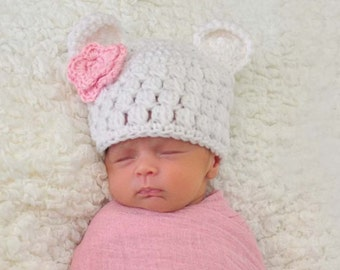 90d7da56f87 Baby Girl Bear Hat Crochet Baby Hat Newborn Girl Hat Bear
