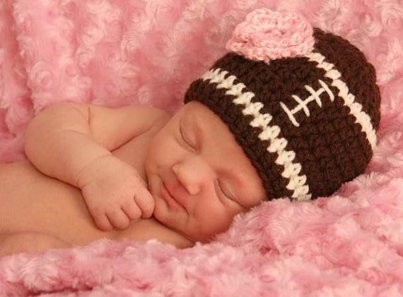 Crochet Baby Girl Football Hat Ready to Ship Newborn  55349ee9251e