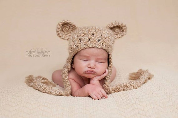 74387d52b05 Crochet Baby Hat Bear Hat Ear Flap Hat Baby Newborn Hat