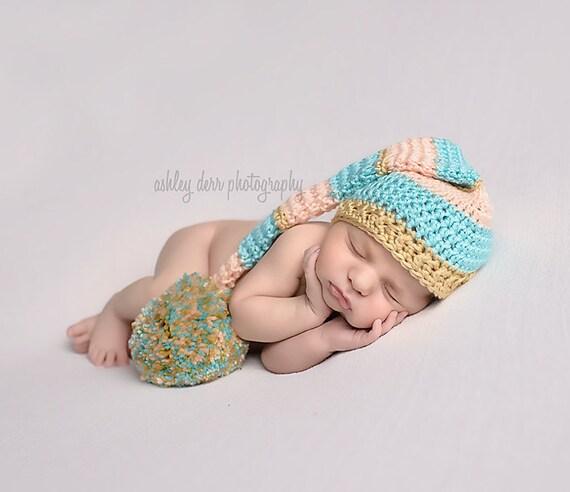 Newborn Baby Girl Stocking Hat Crochet Elf Hat Baby Girl  8af919e699e