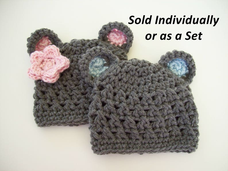 f897e76c34d Twin Newborn Baby Bear Hats Crochet Bear Hats Baby Boy Bear