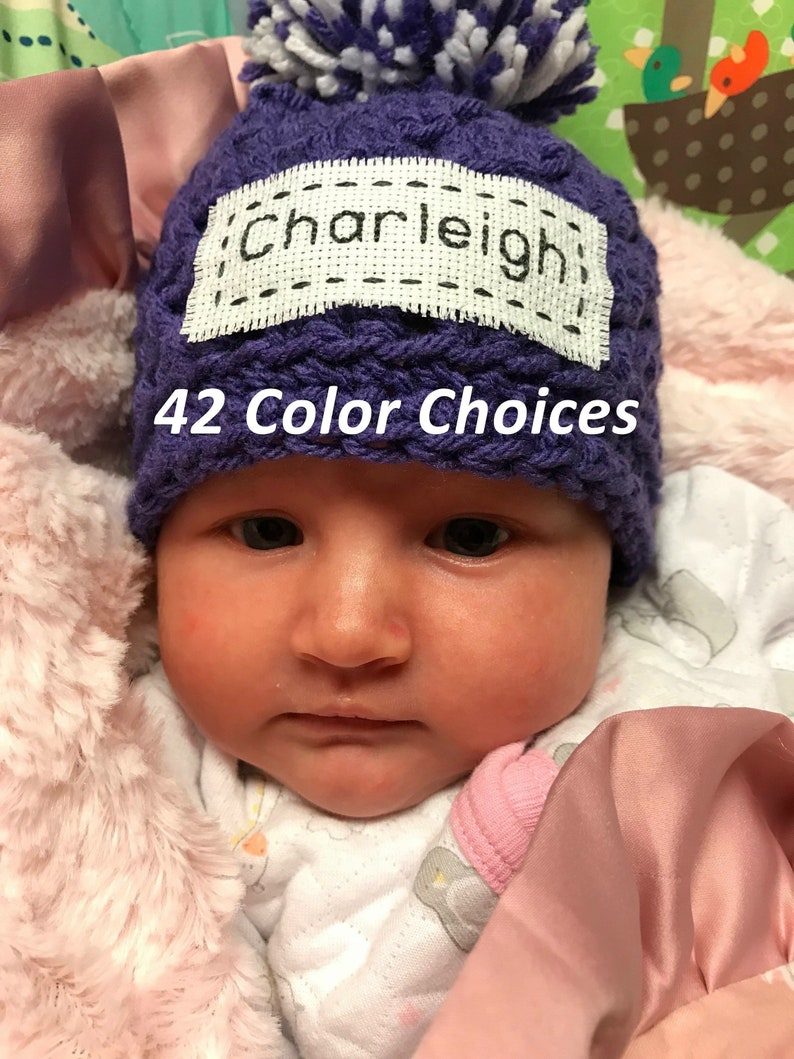 Monogrammed Baby Hat Baby Hat with Name Personalized Newborn  13a6ad8ebf6