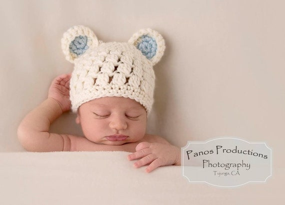 acab7c6ee00 Newborn Bear Hat Baby Hats for Boys Teddy Bear Photo Prop