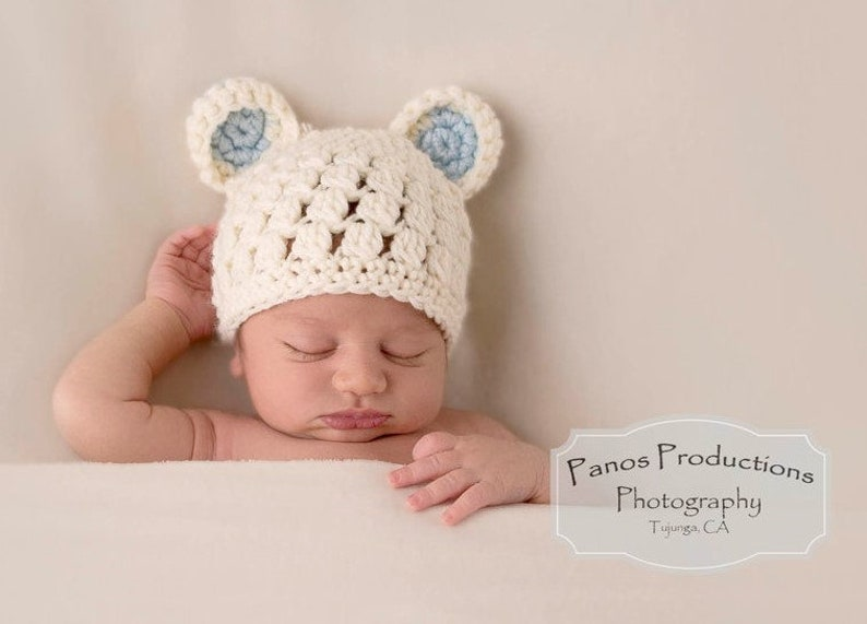 4f787c7e3 Newborn Bear Hat Baby Hats for Boys Teddy Bear Photo Prop | Etsy