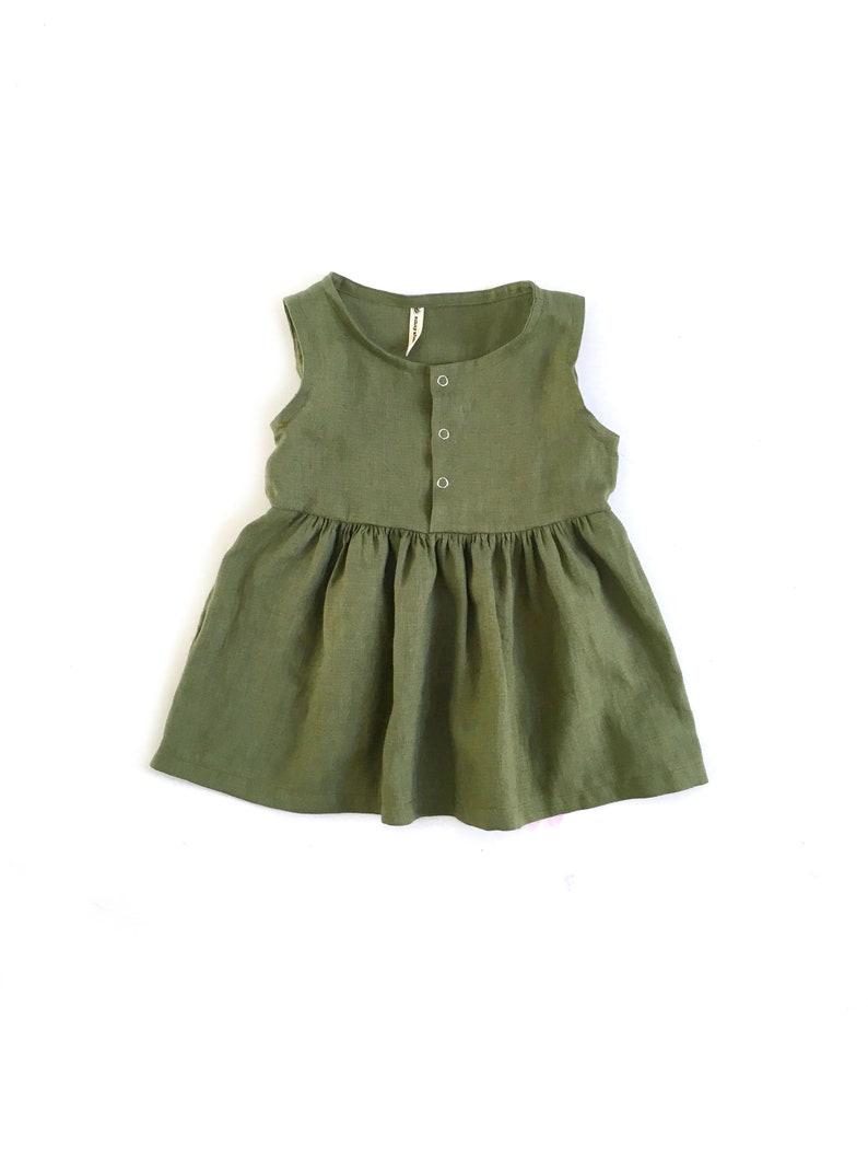 summer dress girls dresses baby dress christening dress linen dress sizes 0m-7y baby girl linen clothes Linen dress