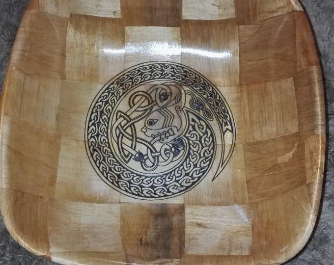 Jörmungandr Serpant Odin's SNAKE Norse Viking  Engraved hand painted NATURAL bamboo wooden bowl unique #viking #art #Jörmungandr #Etsy