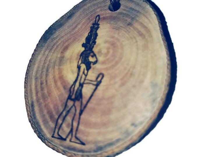 Khnemu Egyptian God Sumerian Assyrian Hieroglyph  Egyptian Symbol Egypt Necklace Wooden Charm Handmade Personalised Charms Wood #jewellery