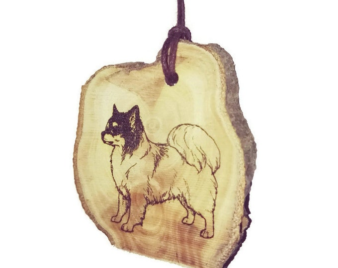 Chihuahua Dog  Long Hair Chiwawa Necklace Charm Wooden Handmade Personalised Engraved Eco Friendly Engraved Gift jewellery #jewellery #Etsy