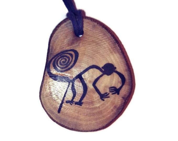 Bespoke Nazca Lines Geoglyph Monkey Handmade Wooden Engraved Necklace Pendant Charm  #Nazca #Geoglyph
