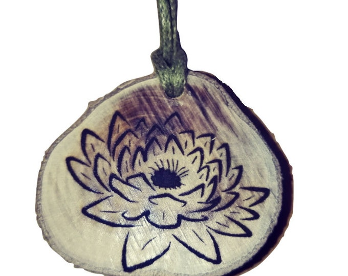 Bespoke Water lily  Flower Floral Necklace Charm Wooden Handmade Personalised Engraved Eco Friendly jewellery #GiftForHer  Retrosheep#Charm