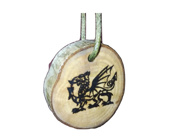 Celtic Welsh Dragon Wales Symbol Eco Friendly Wooden Natural Handmade Engraved Necklace Charm / Key Fob   neo Pagan Celtic Wiccan#Etsy