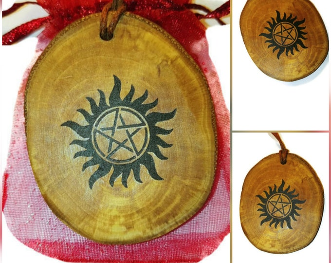 SUPERNATURAL inspired Wooden willow  Protection symbol tv series key Fob Charm  scented car air freshener mixed fragrance oil  Pagan Wicca
