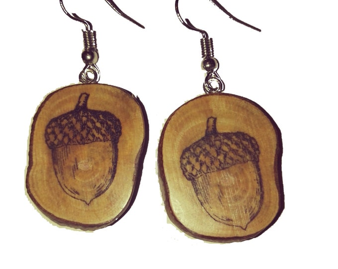 Bespoke Acorn oak seed Necklace / Earrings Wood Charm Brown  Eco Friendly Handmade Personalised Wooden Charms