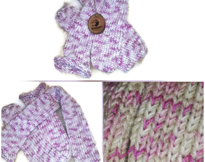 Pink Candy Beige Mix  Funky Handmade Wool Unisex bed / sofa Retro Socks For Women Men #Socks