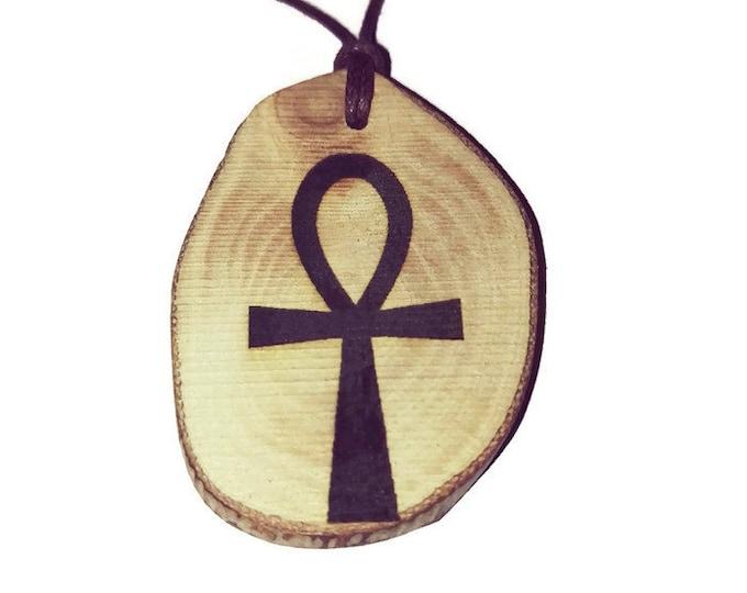 "Ankh crux ansata  Egyptian hieroglyphic ideograph symbolizing ""life"" Egypt Necklace Wooden Charm Handmade Personalised Charms #Etsy #Jewelry"