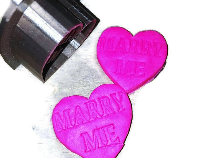 MARRY ME  3D Printed Gold Valentines Marriage Engagement Proposal Cookie Dough Cutter #love#Etsy