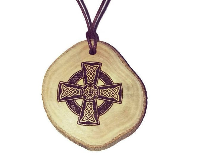 CELTIC CROSS symbol neo Pagan Celtic Wiccan Wooden Natural Handmade Engraved Necklace jewellery Charm Can Be Personalised #Celtic #jewellery
