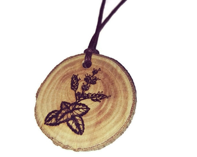 Bespoke Patchouli Flowers Flower Floral Necklace Charm Wooden Handmade Personalised Engraved Eco Friendly jewellery #GiftForHer #Etsy #Charm
