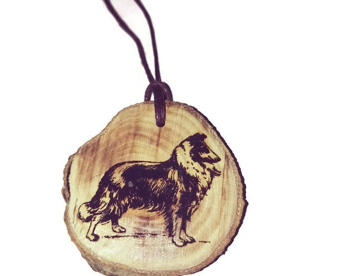 Bespoke Collie Dog Necklace Charm Wooden Handmade Personalised Engraved Eco Friendly Engraved Gift jewellery #GiftForHer   Retrosheep#Charm
