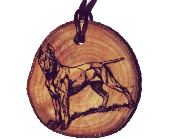 Bespoke Bull Terrier Dog Necklace Charm Wooden Handmade Personalised Engraved Eco Friendly Engraved Gift jewellery #GiftForHer #Etsy #Charm