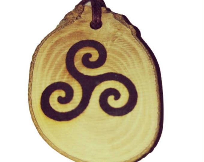 Triple Spiral Triskelion Triskele symbol neo Pagan Celtic Wiccan Greek  Wooden Natural Handmade Engraved Necklace Charm Can Be Personalised