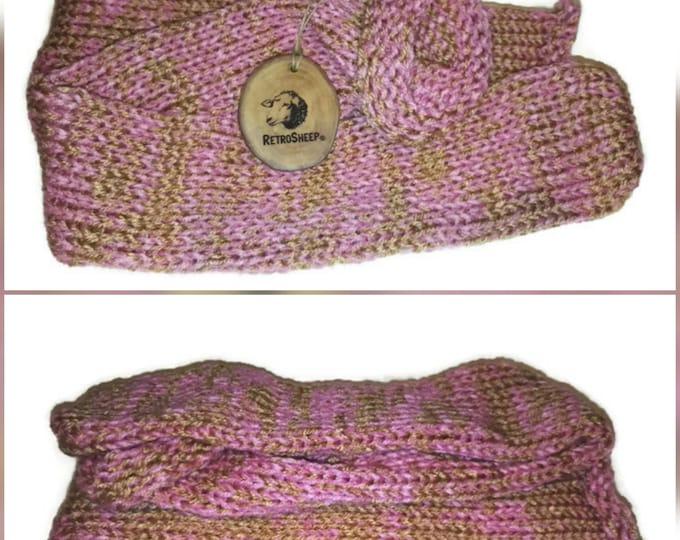 Pink Gold   Mix Handmade Hand Knitted Wool Unisex Socks #Socks