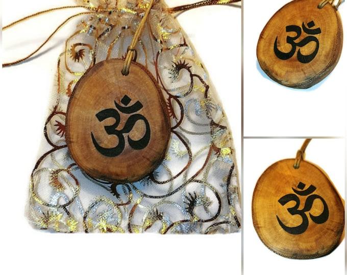 Bespoke Om Symbol Mantra Necklace Charm Wooden Handmade Personalised Engraved Eco Friendly jewellery #GiftForHer  Retrosheep#Charm