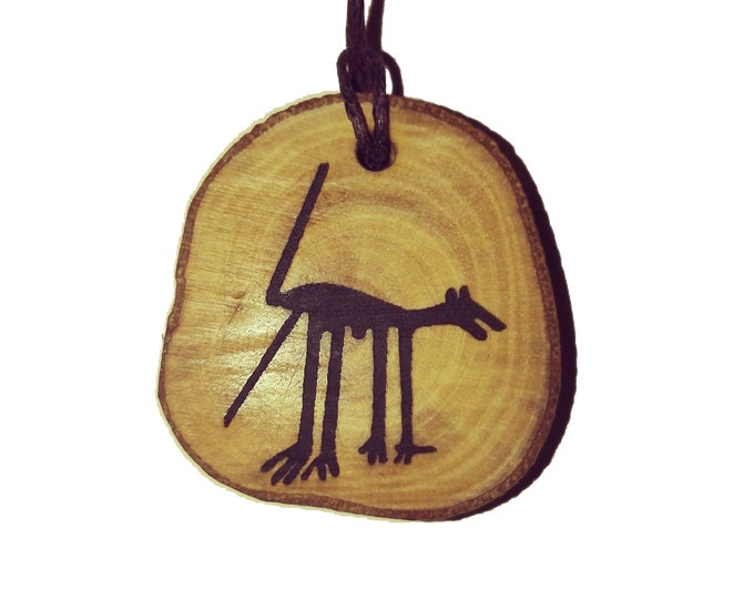 Bespoke Nazca Lines Peru Geoglyph DOG  Handmade Wooden Engraved Necklace Pendant Charm  #Nazca #Geoglyph