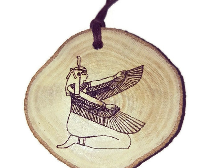 Goddess Isis Hieroglyph Symbol Egyptian Symbol Egypt Necklace Wooden Charm Handmade Personalised Charms Wood Hand made jewellery #Etsy
