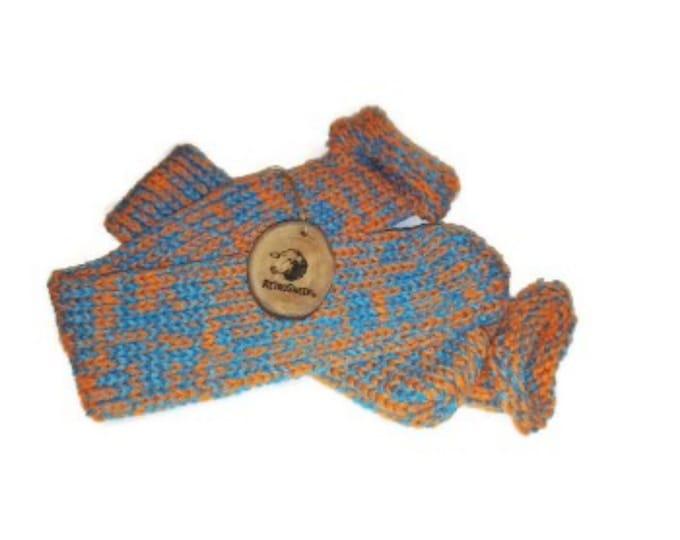 Orange Turquoise Mix Handmade Hand Knitted Wool Unisex Socks #Socks