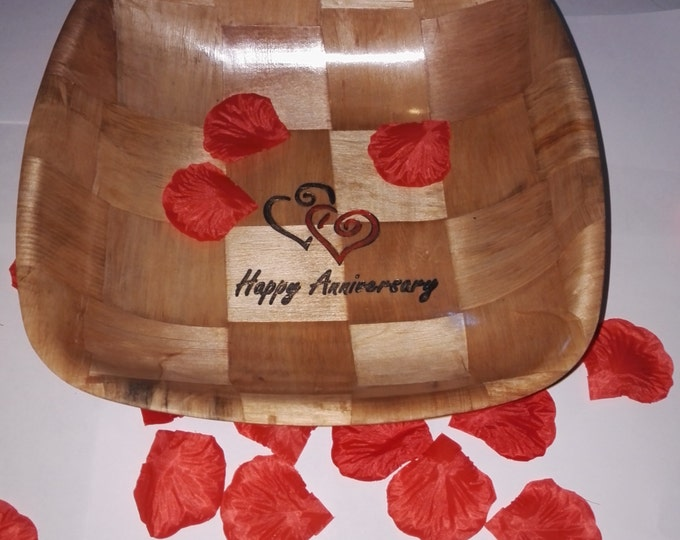 HAPPY ANNIVERSARY hand painted engraved unique gift NATURAL wooden bamboo bowl party table decoration #anniversary#Etsy