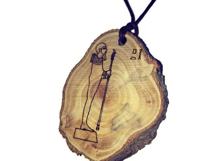 God Ptah Pharaoh  Hieroglyph Symbol Egyptian Symbol Egypt Necklace Wooden Charm Handmade Personalised Charms Wood Hand made jewellery#Etsy