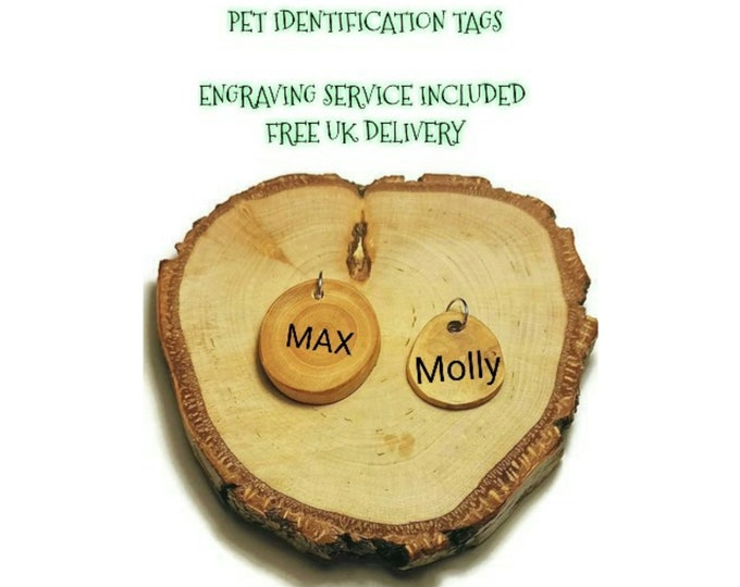 Personalised Wooden Pet Tag Dog Id / Cat Id Name Tag Plum Wood Personalised Puppy Pet Id Tags Pet Accessory Gift for Pet  FREE ENGRAVING