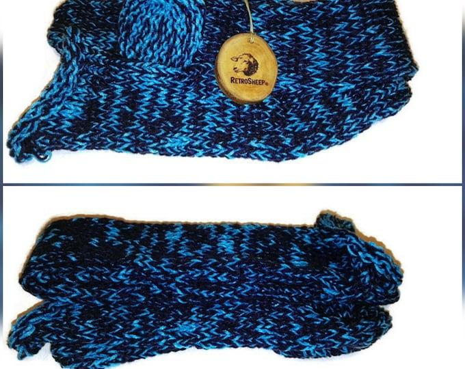 Navy Turquoise  Mix Handmade Hand Knitted Wool Unisex Socks #Socks