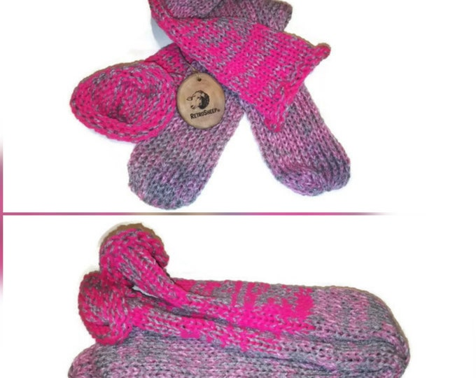 Bright Dusky Pink Silver Grey   Mix Handmade Hand Knitted Wool Unisex Socks #Socks