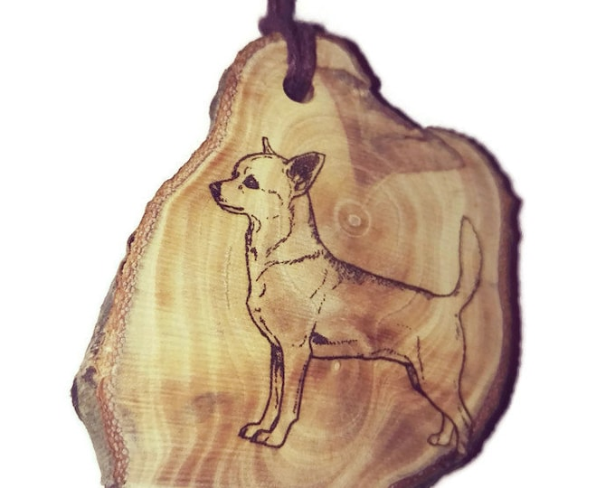 Chihuahua Dog  Short Hair Chiwawa Necklace Charm Wooden Handmade Personalised Engraved Eco Friendly Engraved Gift jewellery #jewellery #Etsy