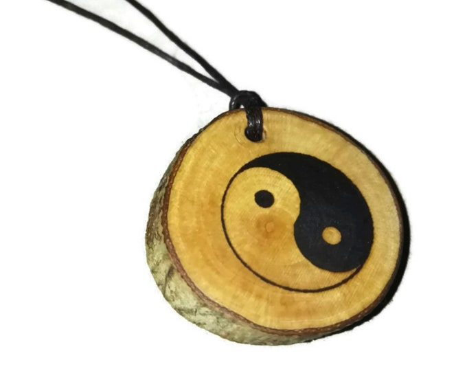 Yin Yang Earth Chinese Peace Symbol  Good Luck Necklace Charm Wooden Handmade Personalised Engraved Eco Friendly jewellery #GiftForHer#Etsy
