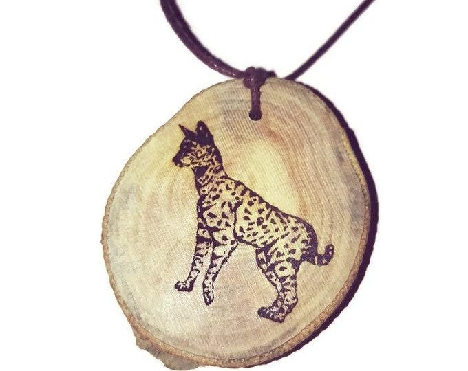 Bespoke Serval Cat Necklace Charm Wooden Handmade Personalised Engraved Eco Friendly Engraved Gift jewellery #GiftForHer   Retrosheep#Charm