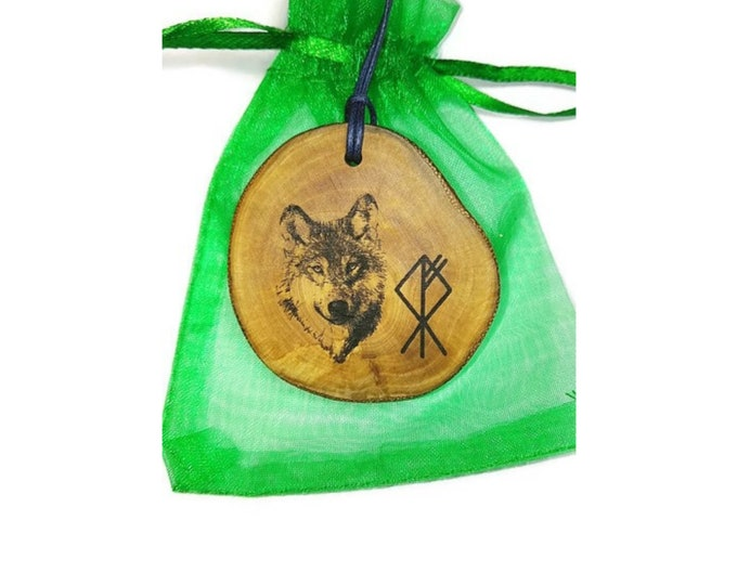 Bespoke Timber Wolf Viking symbol Handmade Necklace Wooden Charm Brown Eco Friendly Handmade Personalised Charms Wood Jewellery #Wolf #Etsy