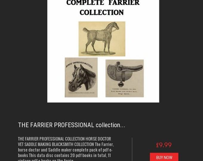 Retrosheep THE FARRIER PROFESSIONAL collection horse doctor vet and Saddle maker complete pack- plans making books pdf ebook#Etsy