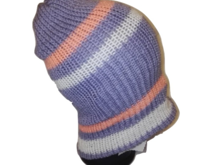 Retrosheep Purple Salmon Pink  White stripe RETRO Handmade knitted slouch beanie hat double knit extra thick snowboarding ski  #retro
