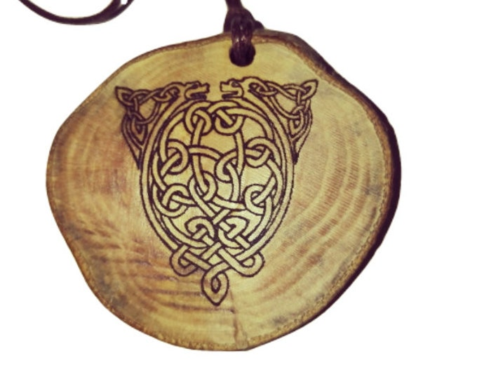 Nordic Snake Serpant Níðhöggr symbol  Eco Friendly  Nordic Viking Rune Wooden Natural Handmade Engraved Necklace Charm Can Be Personalised
